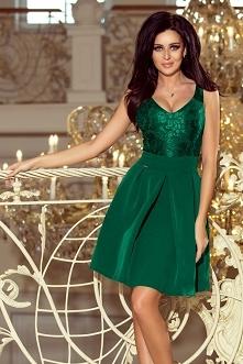 Zielona sukienka z koronką,...
