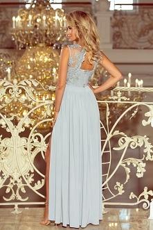 Piękna srebrna długa suknia...