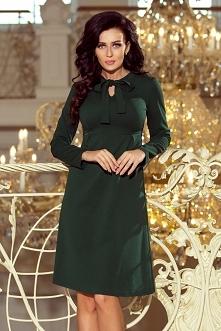 Zielona piękna klasyczna sukienka z wiązaniem pod szyją - odcinana pod biustem - mega wygodna :) Polska marka numoco.