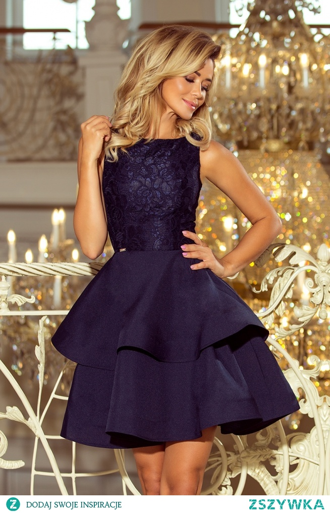 0cf2d67f102e48 Granatowa mocno rozkloszowana sukienka z koronką - ideał na Syl.. na ...