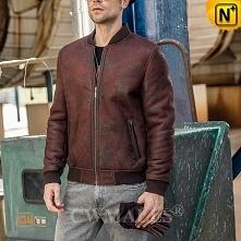 Custom Sheepskin Jacket | CWMALLS® Philadelphia Shearling Baseball Jackets CW808322 [Christmas Gifts]
