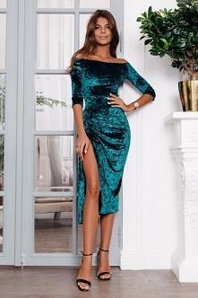 Sukienka Midi Velvet Turquoise z noshame.pl (klik w zdjęcie, by przejść do sk...