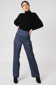 NA-KD Atłasowe żakardowe szerokie spodnie - Blue