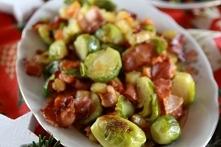 Brukselka z warzywami i boczkiem