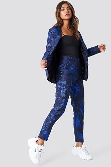 NA-KD Party Proste spodnie żakardowe - Black,Blue