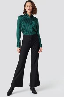 Emilie Briting x NA-KD Spodnie z szerokimi nogawkami - Black