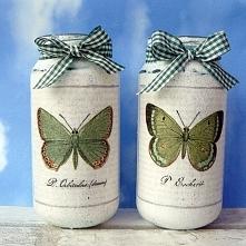 Dekoracja. Motyle. Komplet ręcznie malowanych słoiczków.