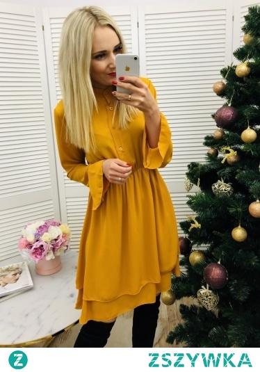 Koszulowa Sukienka Szmizjerka Musztardowa 89zł Idealna dla karmiących Mam :)