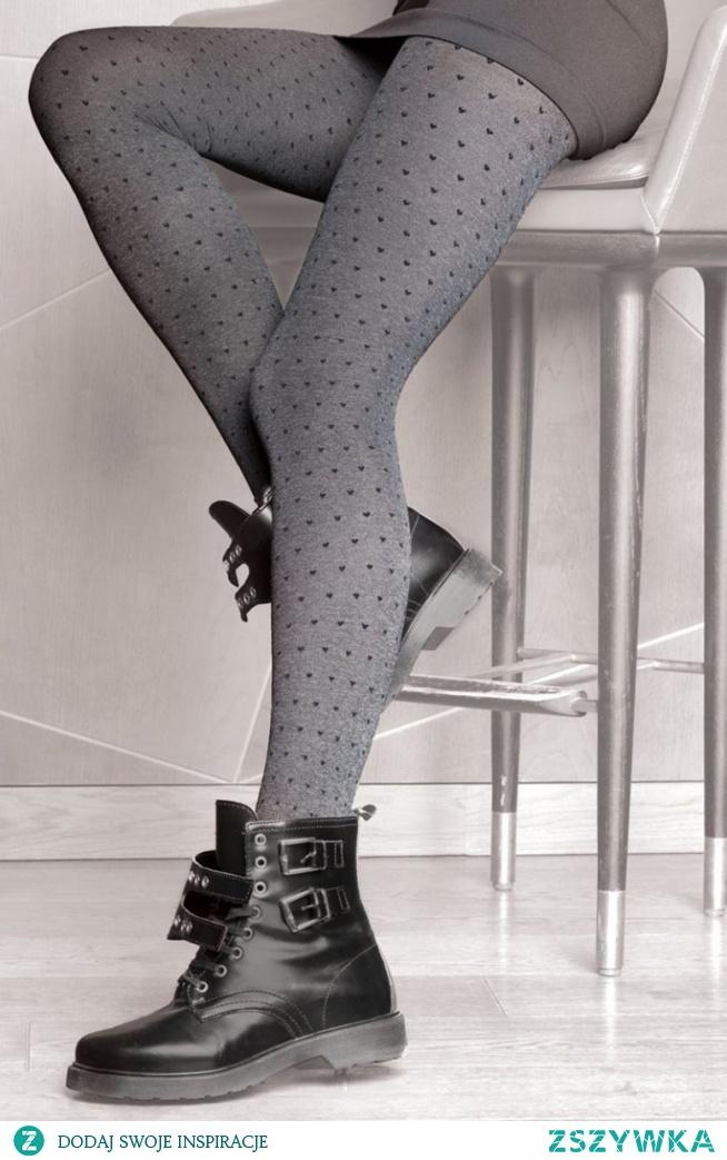 Gatta Colette Chic 01 rajstopy Wzorzyste rajstopy damskie, delikatny wzór w serduszka, idealnie dopasowane