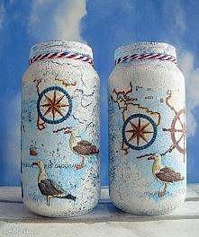 Gdzieś na Pacyfiku... Dekoracyjne słoiczki w stylu marinistycznym z kolekcji ...