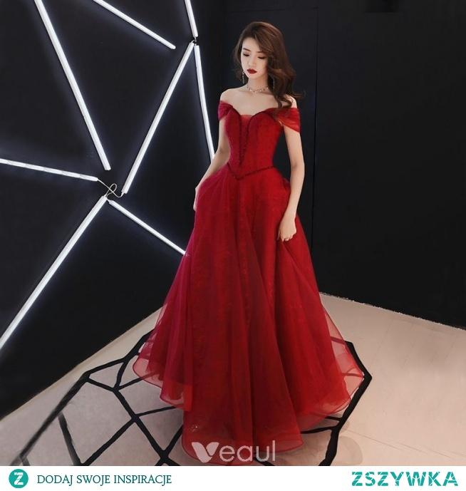 97bc994901 Piękne Burgund Sukienki Wieczorowe 2019 Princessa Przy Ramieniu.. na ...