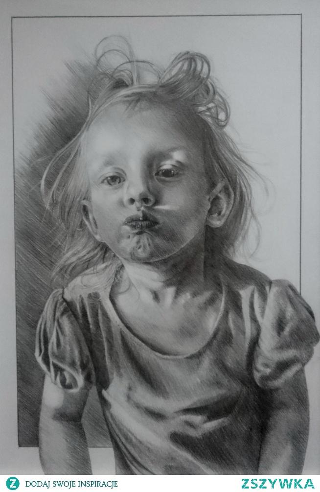 Buziaczki od mojej ślicznej bratanicy! <3  Ołówek na papierze 30x21 cm