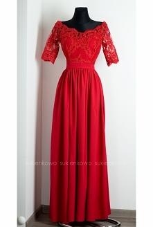 KLIKNIJ W ZDJĘCIE BY PRZEJŚĆ DO PRODUKTU SUKIENKOWO.COM ALISON - Długa sukienka z koronką i rękawem czerwona