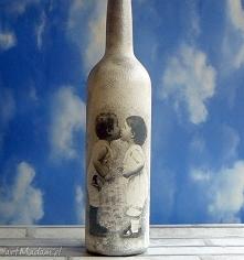 Vintage. Retro. Dzieci. Szklana butelka ręcznie malowana.