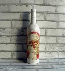 Święty Mikołaj. Dekoracyjna szklana butelka.