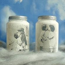Vintage. Dzieci. Szklane słoiczki ręcznie malowane.