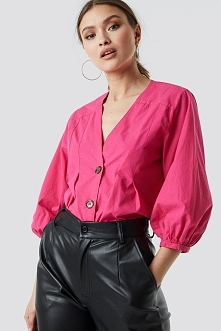 NA-KD PUFF SLEEVE BUTTON UP BLOUSE - Pink