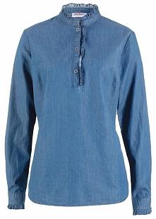 Tunika dżinsowa  z falbanami, długi rękaw bonprix niebieski