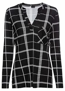 Shirt w kratę bonprix czarno-biel wełny w kratę