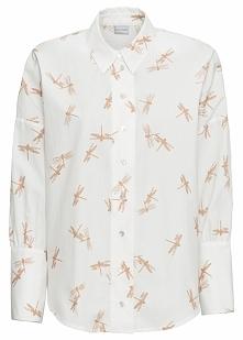 Bluzka oversize bonprix biel wełny z nadrukiem