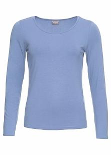 Shirt z długim rękawem bonprix perłowy niebieski