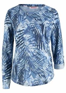 Shirt z nadrukiem, długi rękaw bonprix niebieski z nadrukiem