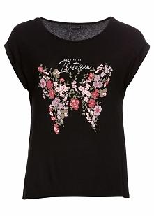 Shirt z nadrukiem motyla bonprix czarny z nadrukiem