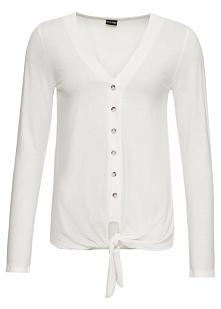 Shirt z plisą guzikową, długi rękaw bonprix biel wełny