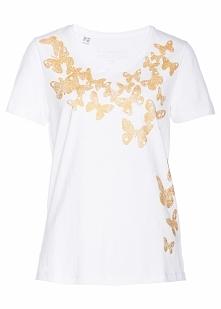Shirt z połyskującym nadrukiem bonprix biało-złoty