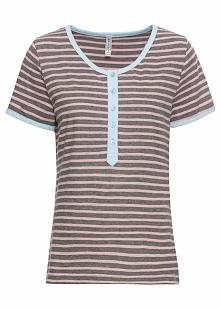 Shirt w paski, z guzikami bonprix szary melanż - różowoczerwono-lodowy niebie...