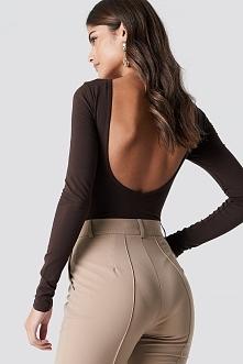 NA-KD Basic Body z odkrytymi plecami - Brown