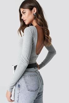 NA-KD Basic Body z odkrytymi plecami - Grey