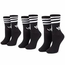 Zestaw 3 par wysokich skarpet unisex adidas - Mid Cut Crw Sck DX9092 Black/White