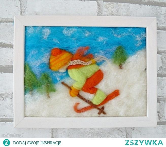 Dziewczynka szusująca na nartach. Obraz z kolekcji Winter