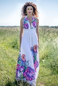 Felicja - biała suknia w kwiaty