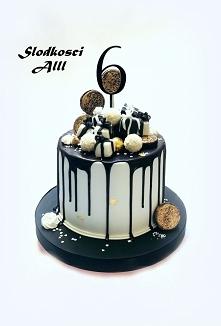 Tort czarno-biało złoty