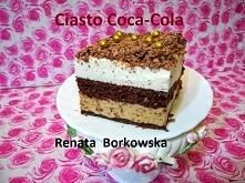 """Ciasto """" Coca-Cola """" biszkopt: 6 jajek szklanka drobnego cukru szklanka mąki tortowej 2 czubate łyżki kakao masa z colą: 100 g orzechów włoskich 200 g herbatników typu..."""