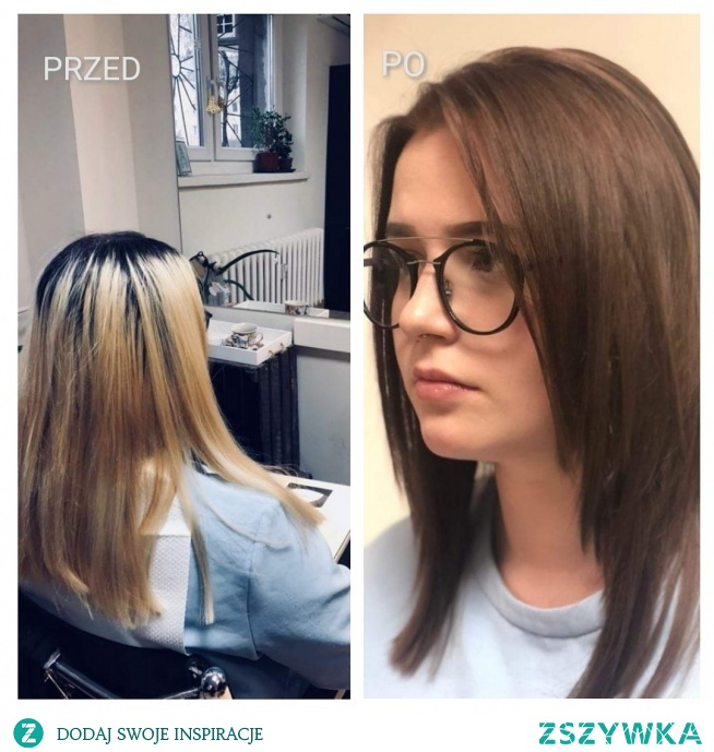Metamorfoza przed i po w salonie fryzjerskim Bo Włos Ma Swój Głos