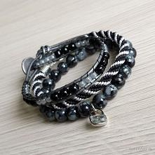 """zestaw """"elegance black & silver"""" bransoletki na wieczór"""