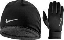 Nike Męski Zestaw Termiczny Czapka I Rękawiczki Czarny/Srebrny L/Xl