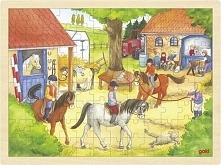 Puzzle drewniane dla dzieci, Konie w stadninie, 96 elementów, zabawka Montess...