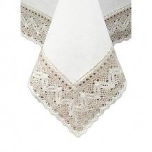 Astoria Obrus lniany biały z koronką 150 x 150