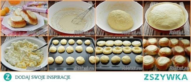 Domowe serniki z twarogiem  Ciasto: 1 jajko 2 łyżki. l cukier 1/2 worek cukru waniliowego 1/4 łyżeczki sole 250 ml mleka 500-550 g mąki 1 łyżka. l suche drożdże 80 g masła  Farsz: 500 g twarożku 2-3 sztuki. l cukier 1 jajko 1/2 worek cukru waniliowego. Aby posmarować serniki : 1 jajko 1 łyżeczka mleka   Ubic ruzgą jajko z cukrem, cukrem waniliowym i solą. Wlać ciepłe mleko, wymieszać. Wymieszaj mąkę z suchymi drożdżami i stopniowo dodawaj do mieszanki mleka jajecznego, zagniataj najpierw ciasto trzepaczką, a następnie rękami. Na koniec dodać roztopione masło i zagnieść do ciasta. Ciasto powinno być gładkie i miękkie. Przykryj miskę ciastem plastikową folią lub ręcznikiem i połóż w ciepłym miejscu do wyrośnięcia na 1-1,5 godziny. Gotowe ciasto zwiększy znacznie objętość.        Nadzienie: zmielić twaróg z jajami, cukrem i cukrem waniliowym. Z ciasta zrób małe  kulki i umieść je na wysmarowanej masłem blasze w pewnej odległości od siebie. Pozostaw 20 minut na wyrośnięcie.         Następnie zrób dołek w każdej kulce prawie do blaszki. W dołkach rozłożyć nadzienie. Wymieszaj składniki na posmarowanie bułeczek i posmaruj każdą i pozostaw na kolejne 10 minut. Następnie wstaw do piekarnika rozgrzanego do 190 stopni i piecz do złotego koloru, około 25 minut. Ostudzić.