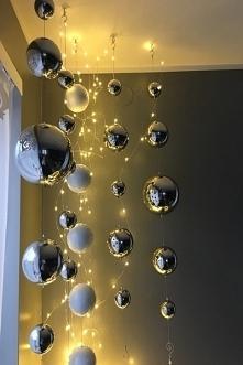kule do okna , girlanda z kul metalowych lustrzanych, długość 100 cm