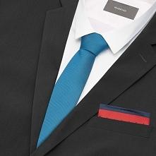 Zestaw krawat i poszetka - Niebieski