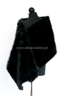 Czarny szal damski do sukienki z futerka