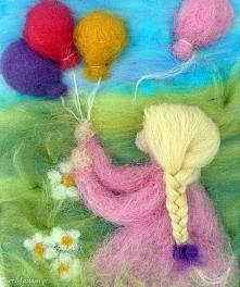 Dziewczynka z balonami. Obraz z kolekcji Die wunderschöne Kindheit