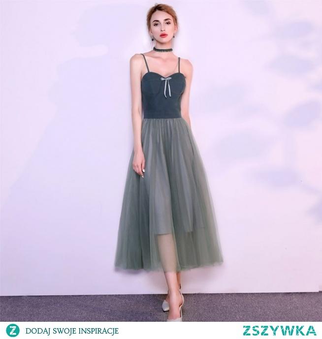 50a17b886562b4 Piękne Tusz Niebieski Sukienki Wieczorowe 2019 Princessa Spaghe.. na ...