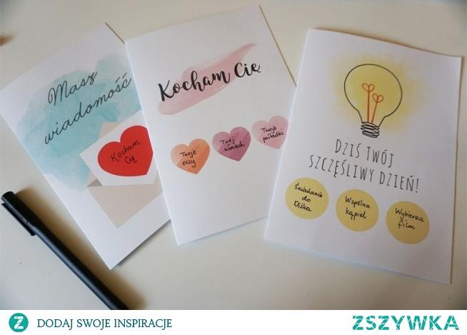 Kartki miłosne do druku + ZDRAPKA DIY :) Wystarczą tylko farba akrylowa, płyn do naczyń, świeczka lub taśma klejąca i zdrapka-niespodzianka gotowa ;)