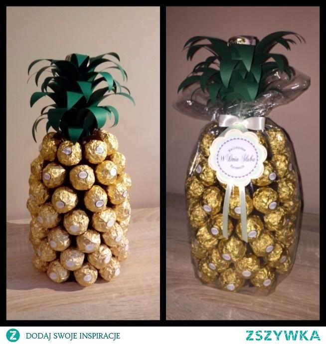 Ananas - inspiracja z internetu, pomysł na prezent; szampan i ferrero rocher